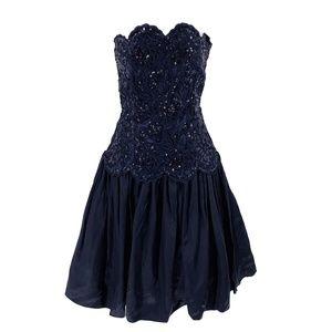 vtg GUNNE SAX Satin Sequins Strapless Dress 5/6